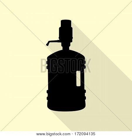 Plastic bottle silhouette with water and siphon. Black icon with flat style shadow path on cream background.