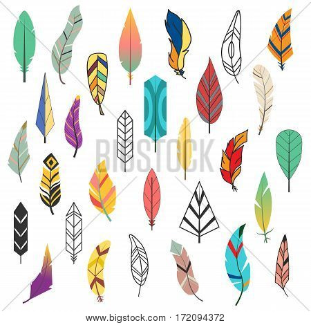 Tribal flat feather different style bird vintage colorful ethnic set and isolated hand drawn element decorative drawing nature quill painting vector illustration. Creative indian elegance ink symbol.
