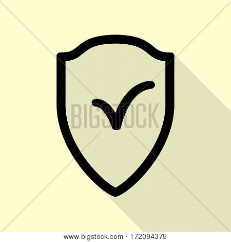 Shield sign as protection and insurance symbol Black icon with flat style shadow path on cream background.
