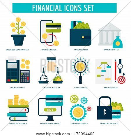 Banking money financial services set credit sign development online accumulation and bank investment management service vector illustration. Graph chart coin exchange commerce payment.