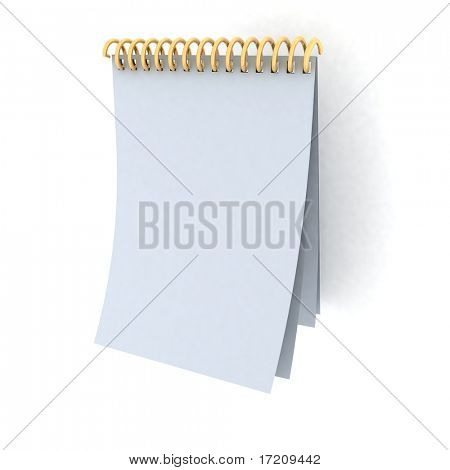 Blank spiral notebook on a white background