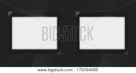 Two Empty White Flat Screen Frame. Clipping Path Included. 3d illustration, 3d rendering