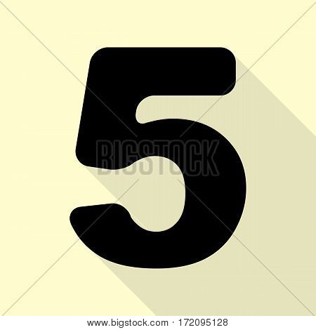 Number 5 sign design template element. Black icon with flat style shadow path on cream background.