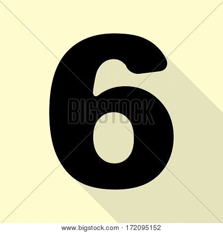 Number 6 sign design template element. Black icon with flat style shadow path on cream background.