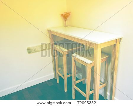 White table in the kitchen room with color filters