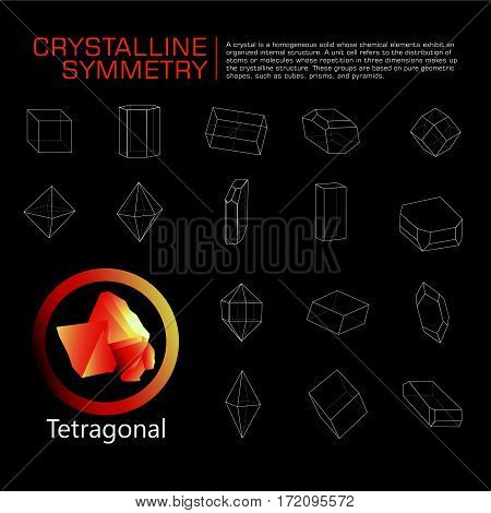 crystals polygon style symmetry illustration vector set