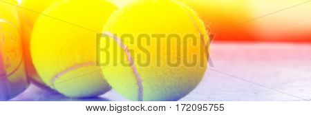 Close up of tennis ball with color filters