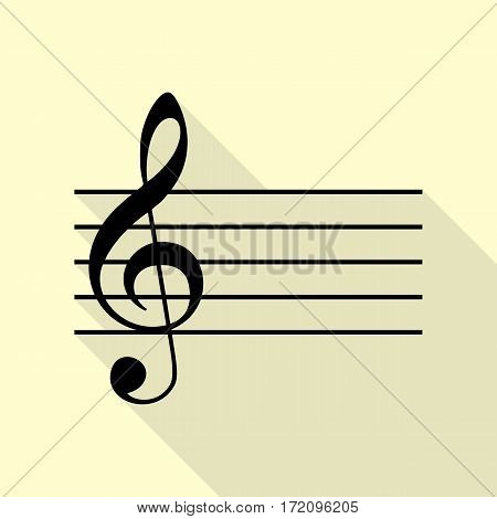 Music violin clef sign. G-clef. Black icon with flat style shadow path on cream background.