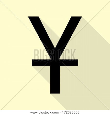 Chinese Yuan sign. Black icon with flat style shadow path on cream background.
