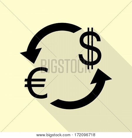 Currency exchange sign. Euro and Dollar. Black icon with flat style shadow path on cream background.