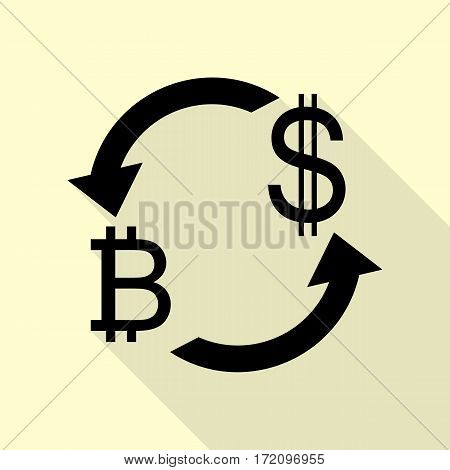 Currency exchange sign. Bitcoin and US Dollar. Black icon with flat style shadow path on cream background.