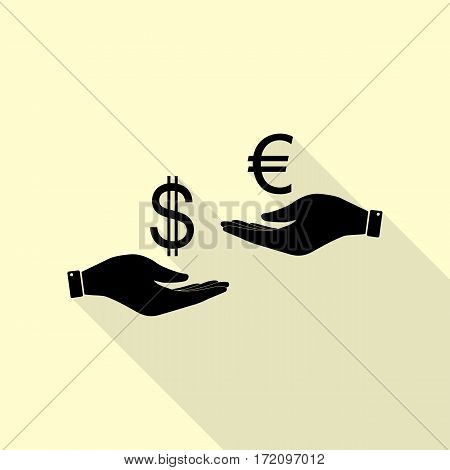 Currency exchange from hand to hand. Dollar adn Euro. Black icon with flat style shadow path on cream background.