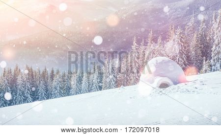 Yurt in winter mist mountains. Photo greeting card. Bokeh light effect, soft filter. Carpathian Ukraine