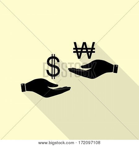 Currency exchange from hand to hand. Dollar and South Korea Won. Black icon with flat style shadow path on cream background.
