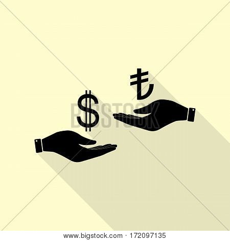 Currency exchange from hand to hand. Dollar and Turkey Lira. Black icon with flat style shadow path on cream background.