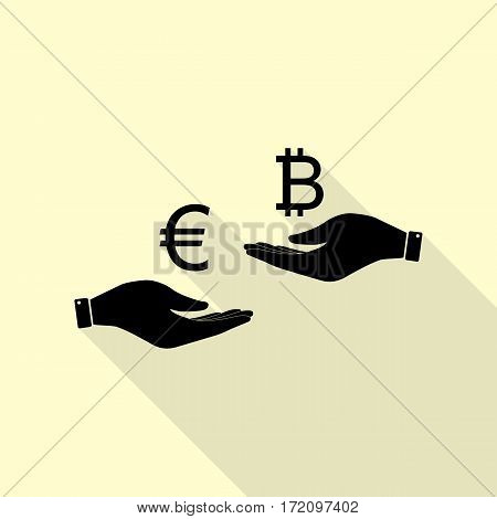 Currency exchange from hand to hand. Euro an Bitcoin. Black icon with flat style shadow path on cream background.