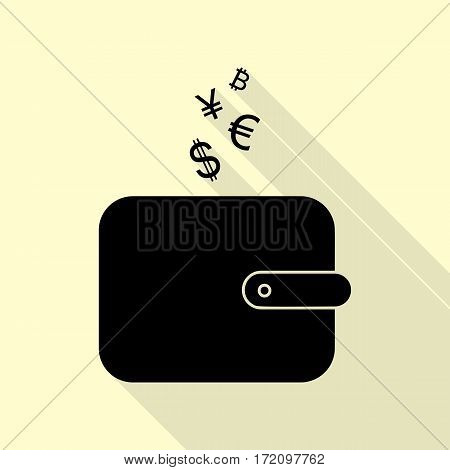 Wallet sign with currency symbols. Black icon with flat style shadow path on cream background.