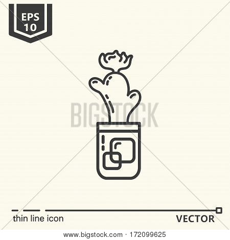 Cactus. One icon - office supplies series. EPS 10 Isolated objects