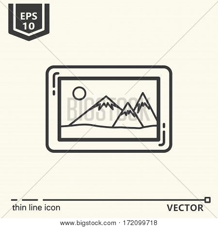Landscape in the frame. One icon - office supplies series. EPS 10 Isolated objects