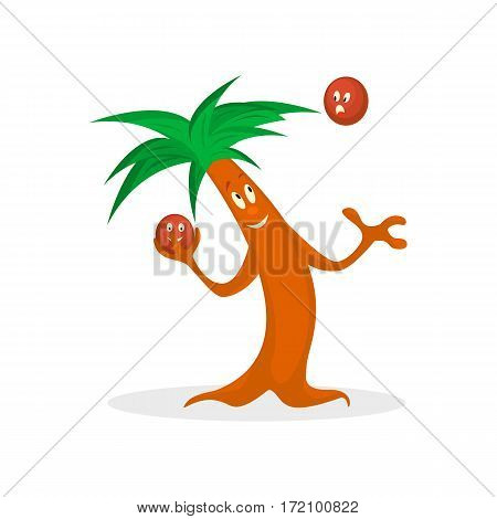 Cartoon palm tree play with kakos on the on the island isolated on a white background.