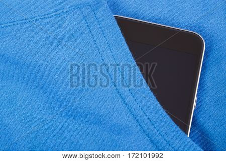 Mobile Phone With Blank Screen In Pocket Sweatshirt, Smartphone