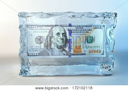 3D illustration of ice cube with one hundred dollar banknote on a white background