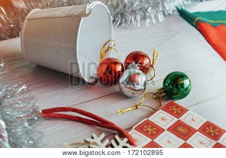 frame with Christmas decorations of glass Christmas balls. In anticipation of the holiday. Christmas wallpaper