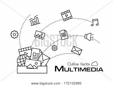 Multimedia box vector . outline style .