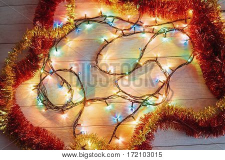 Christmas decoration lights. In anticipation of the holiday