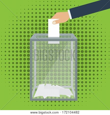 Voting election concept. Vector illustration flat design style. Transparent glass box. Man holds in his hand bulletin puts in ballot box.