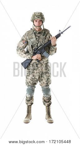 Soldier in camouflage holding rifle, isolated on white