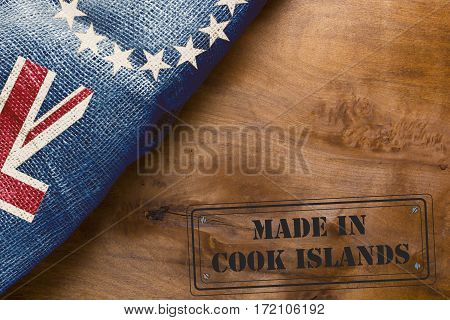 Industrial imprint Made in Cook Islands with the state flag.