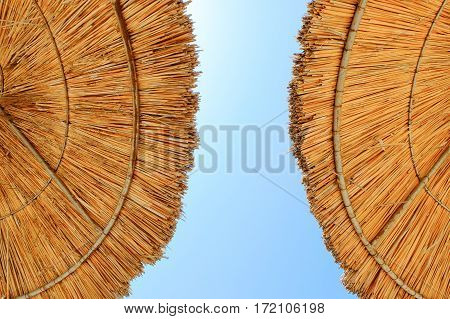 Beach umbrellas made of straw at blue sky background, close up, copy space, summertime.