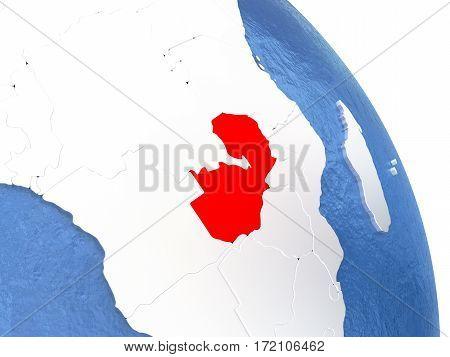 Zambia On Elegant Globe