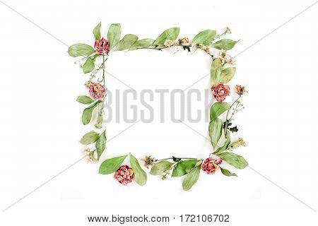 Round frame wreath pattern with roses pink flower buds branches and leaves isolated on white background. Flat lay top view