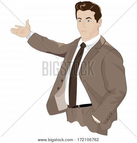 vector business man in a suit shows a hand into the distance.