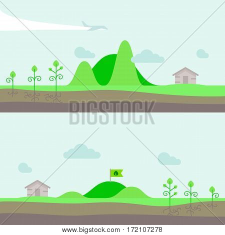 Vector illustration hills in flat style. Set of panorama natural landscape with clouds, garden, trees and house village. Flag on the hill.