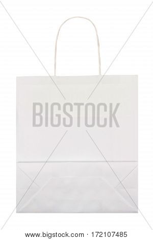 White paper bag isolated on white background. Flat lay