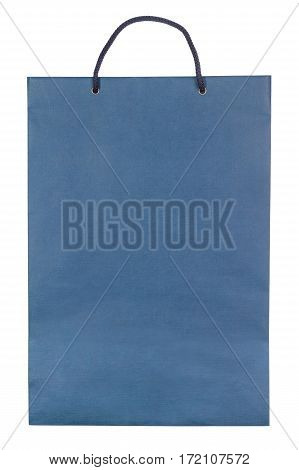 Paper bag isolated on white background. Flat lay