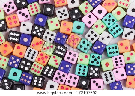 Gambling dice background. Casino gambling concept. Flat lay