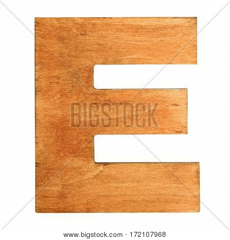 Old wooden letter E on wooden background. Vintage wooden letter E. One of full alphabet wooden set