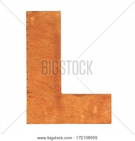 Old wooden letter L on wooden background. Vintage wooden letter. One of full alphabet wooden set