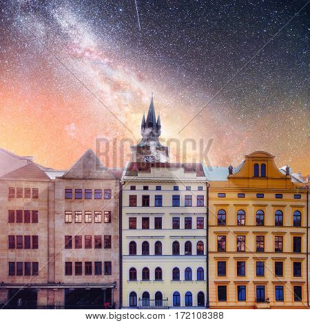 beautiful houses Czech Republic. Starry sky and milky way over the picturesque architecture of the old town. Courtesy of NASA.
