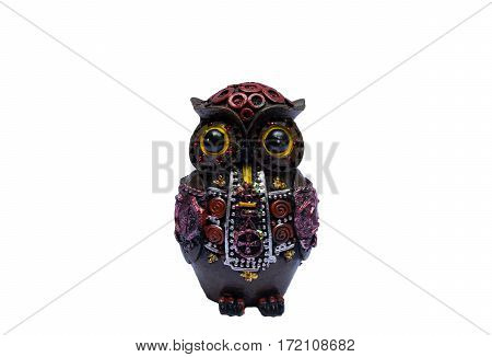 Isolate of wooden owl handicraft white background