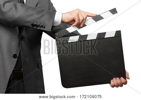 Male hands holding movie clapper board isolated on white background