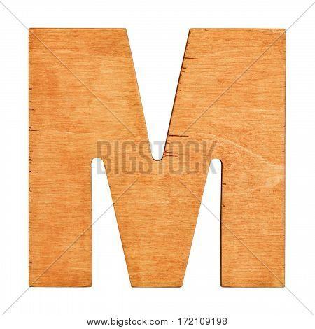 Old wooden letter M on wooden background. Vintage wooden letter. One of full alphabet wooden set