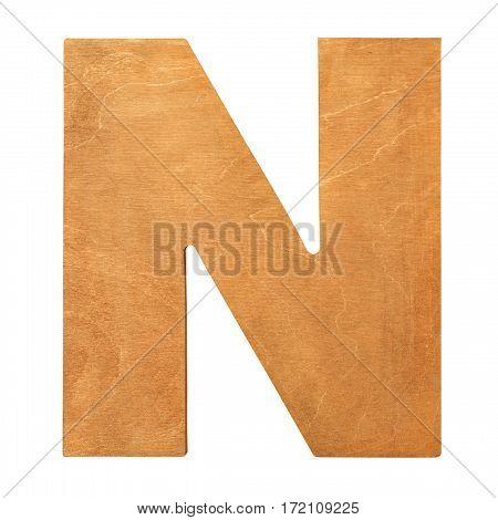 Old wooden letter N on wooden background. Wooden vintage letter. One of full alphabet wooden set