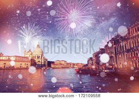 St Mark's Square Piazza San Marco and Campanile bell tower in Venice. Brightly Colorful Fireworks . The starry sky and the Milky Way. Italy. Bokeh light effect, soft filter.