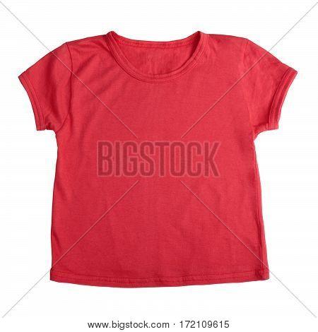 Infant short sleeve shirt isolated on white background. Flat lay