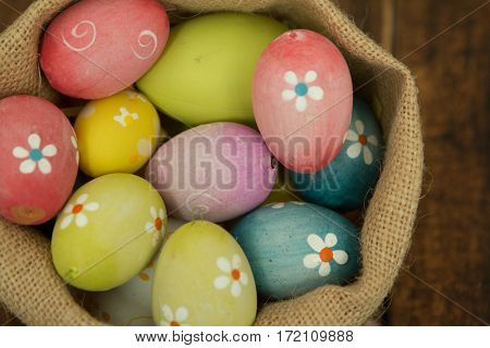 Colourful Easter Eggs with flowers painted for decoration